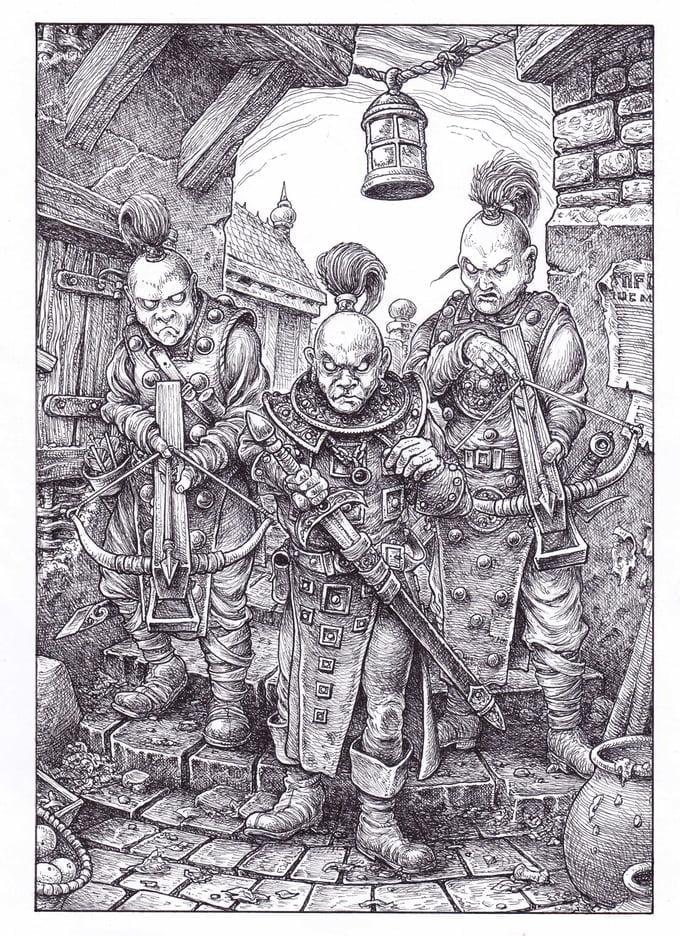 La misma ilustración anterior, > para la ocasión por Gary Chalk