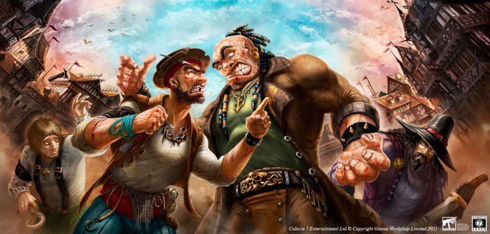 Miembros de las bandas de los Garfios y los Peces enfrentándose en los muelles de Altdorf – Ilustración de Yugin Maffioli